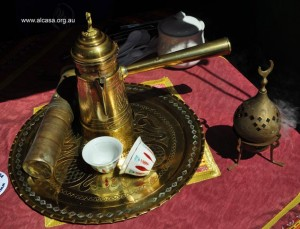 Traditional coffee pot and cups